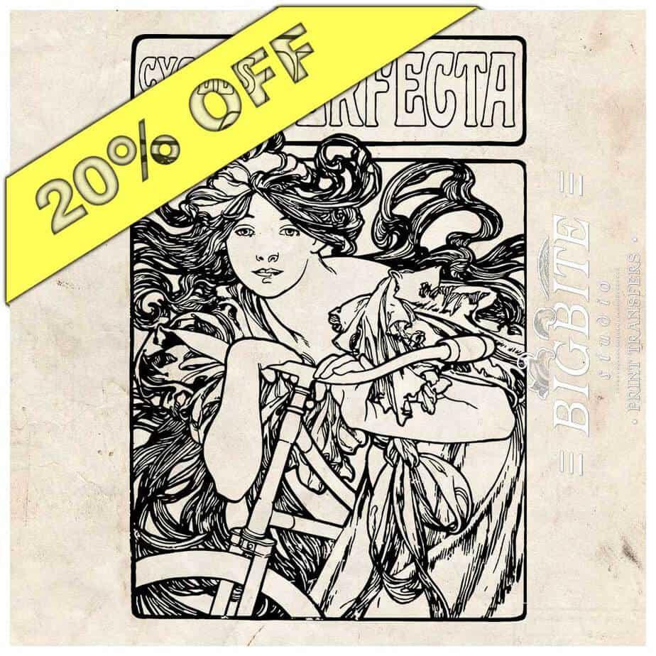 Art Nouveau Stencil - Cycles Perfecta Alphonse Mucha - discount
