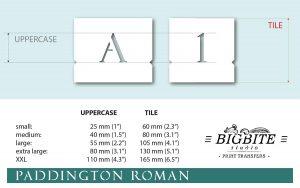 Elegant Steciled Letters - Font Paddington Roman (size)