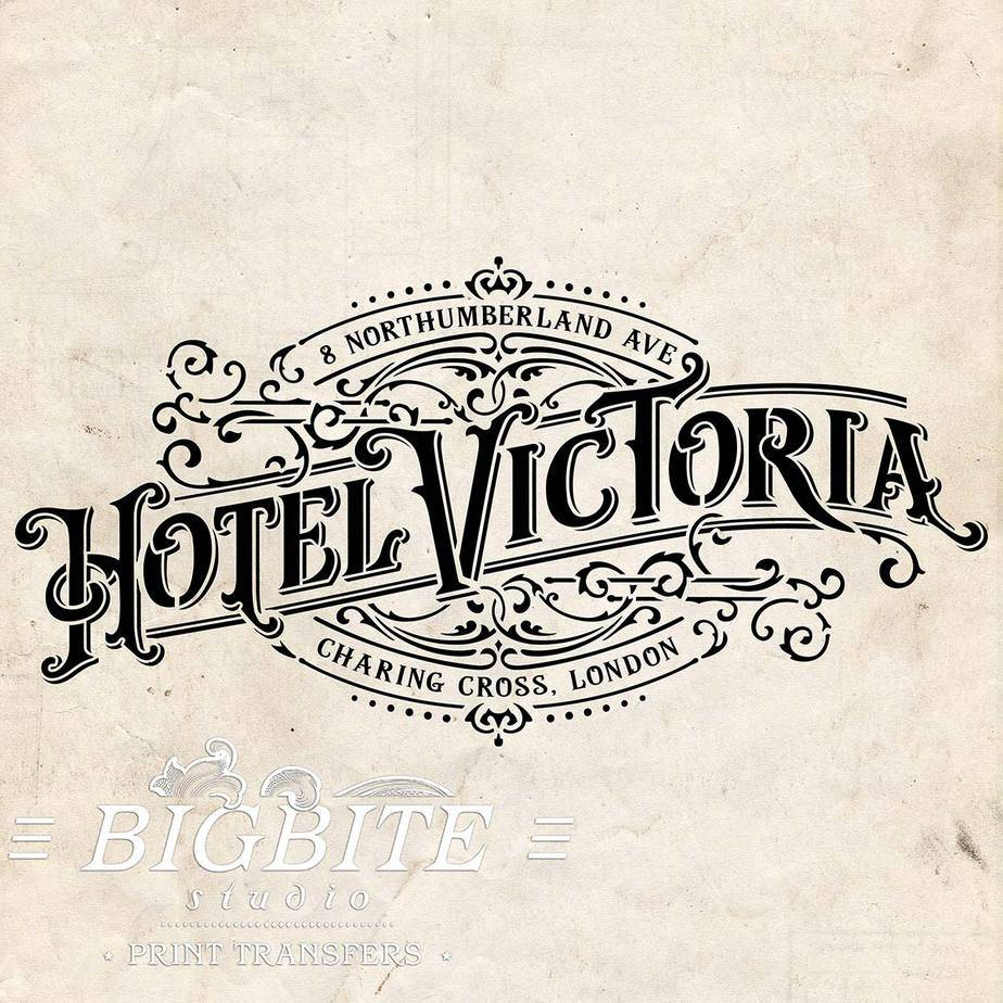 Water Slide Decal: Hotel Victoria Vintage Logo