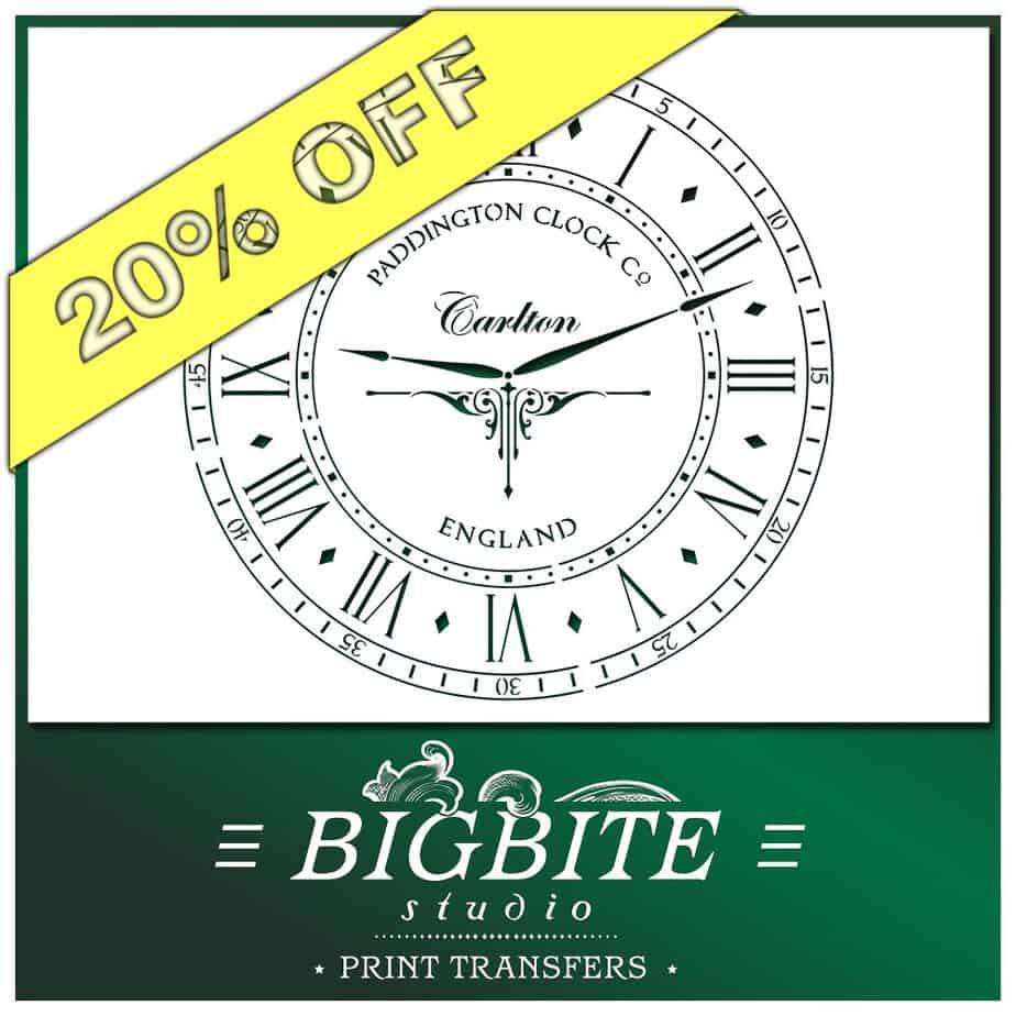 Paddington Clock Face with Hands Vintage Stencil - 20% discount
