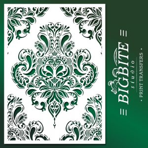 Shabby Chic Stencil: Doodle Damask Wallpaper Pattern