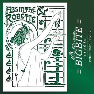 Vintage Art Deco Stencil - Absinthe Robette Advert