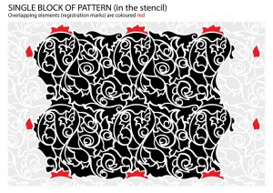 Acanthus abstract floral pattern stencil - registration marks