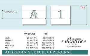 Algerian Stencil Decorative Letters Set UPPERCASE sizes