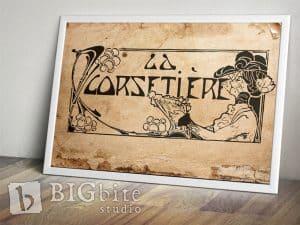 Art Deco Print Transfer - ''La Corsetiere'' Corset Maker Advert - preview frame