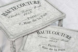 Example of our Blank Water Decal Paper Sheets Print Transfers in action - Shabby Chic nest of tables with French 'Haute Couture' transfer