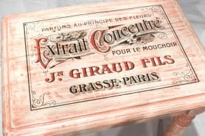 Example of our Blank Water Decal Paper Sheets Print Transfers in action - single table with Jn Giraud Fils, vintage perfume maker from France advert