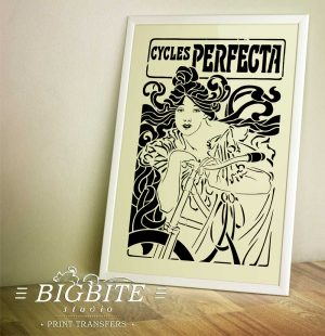 Art Nouveau Stencil - Cycles Perfecta Poster, preview in a large white frame.