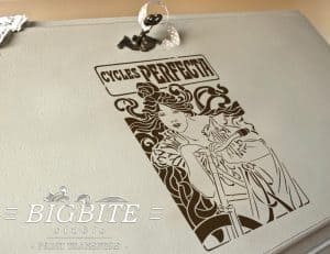 Preview of Art Nouveau Stencil - Cycles Perfecta Poster, stencil on bureau's slope.