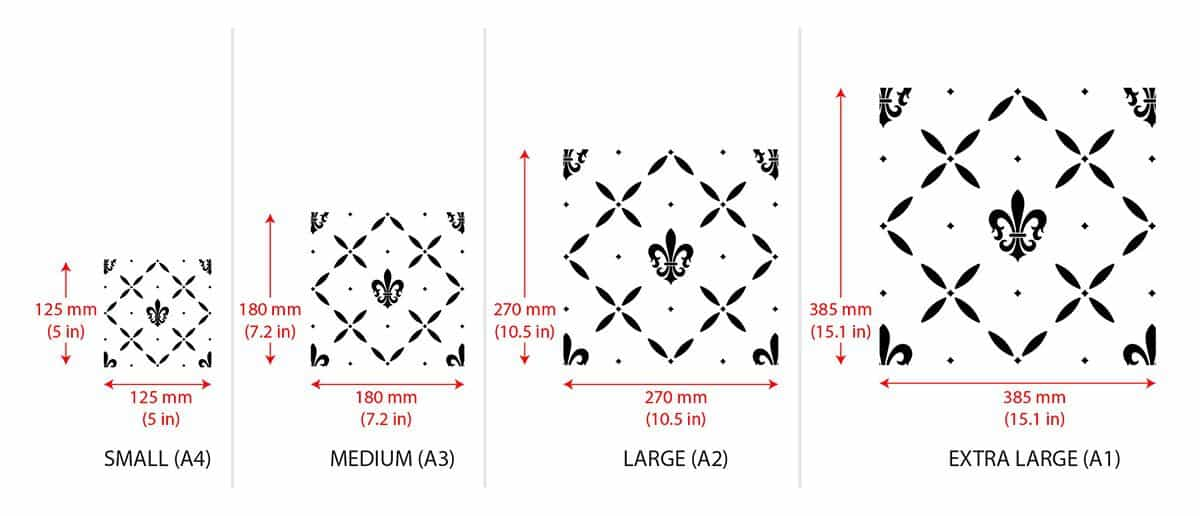 Fleur-de-Lis Cross Pattern Stencil - dimensions of the single element of the pattern