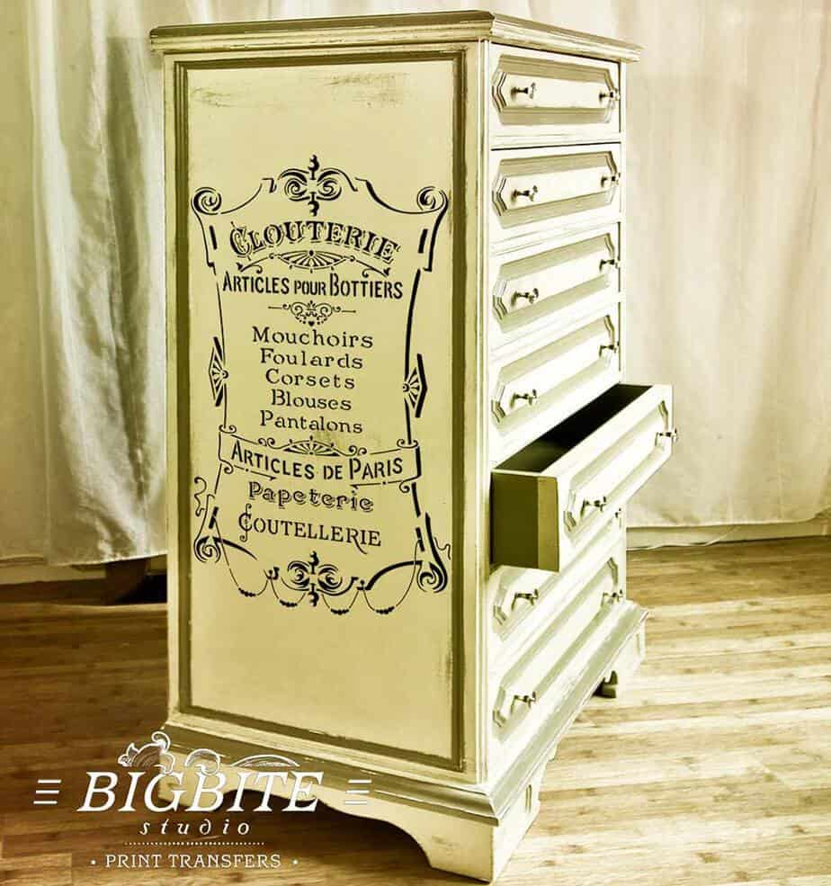 Preview of French Stencil Articles de Paris - Clouterie Advert (chest of drawers)