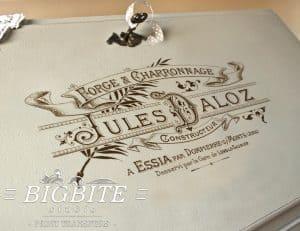 Julez Daloz Smithy - Vintage French Image Transfer - preview on the bureau slope
