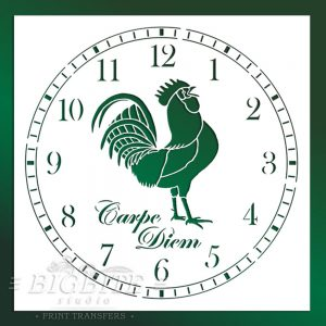 Main image of Rooster CLock Face Stencil (on a green background)