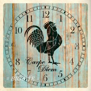Preview of Rooster CLock Face Stencil (on a shabby wooden fence)