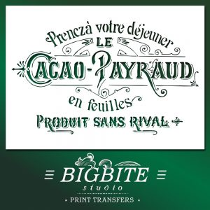 Shabby Chic Stencil: Cacao Pyraud French Advert