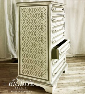 Simple Weave Geometric Pattern - Wallpaper Stencil - preview on a side of a chest of drawer
