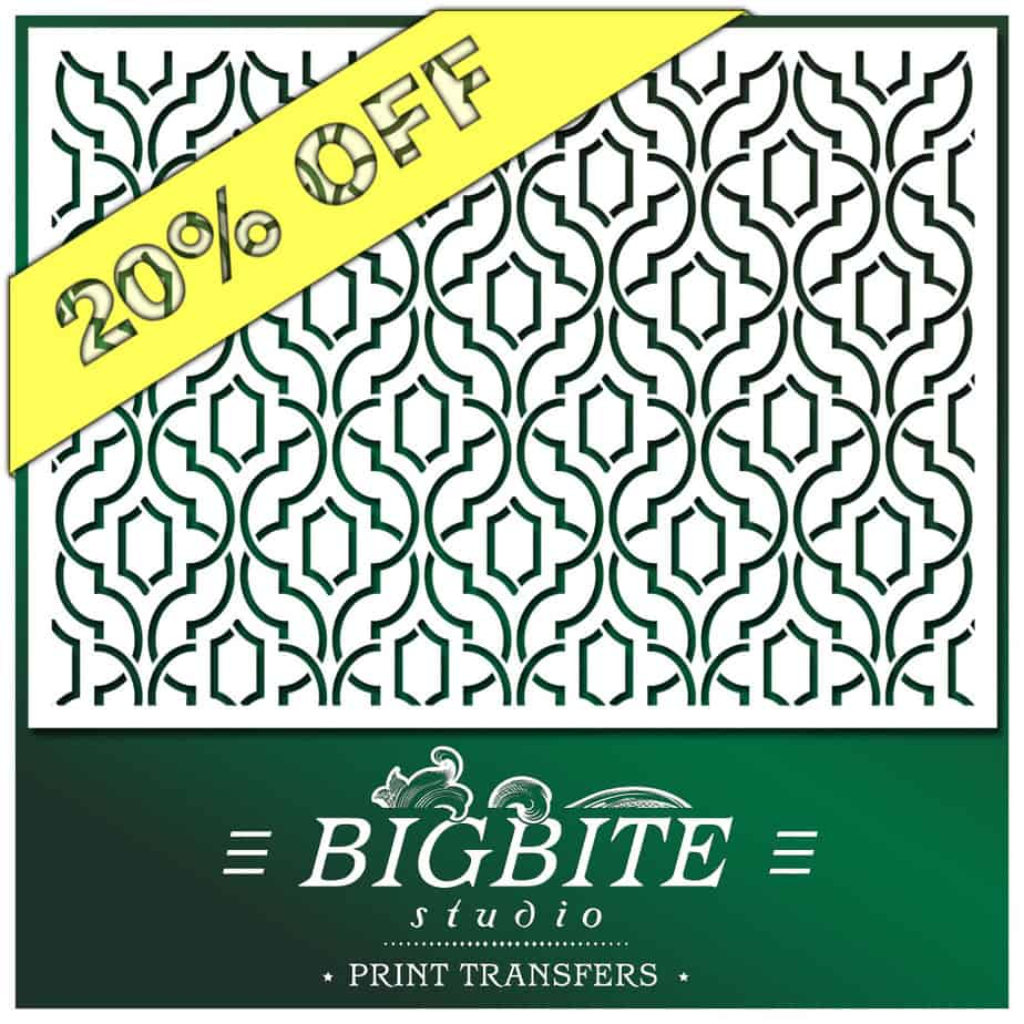 Simple Weave Geometric Pattern - Wallpaper Stencil - main image with a discount offer