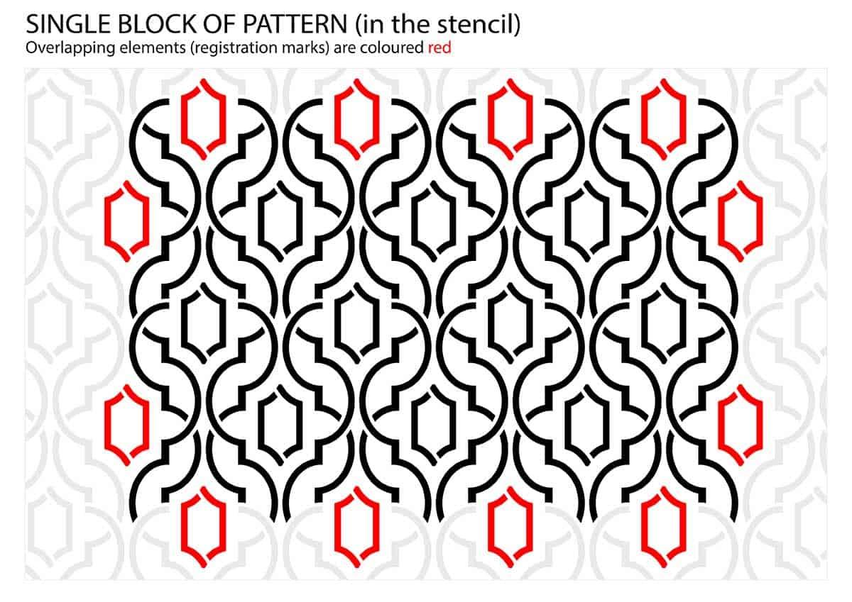 Simple Weave Geometric Pattern - Wallpaper Stencil - preview