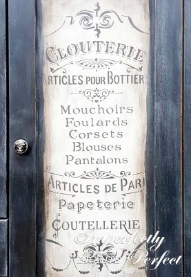 Perfect Stencilling - 'Articles de Paris' vintage stencil, grey on off-white backround, painted on vintage cupboard.