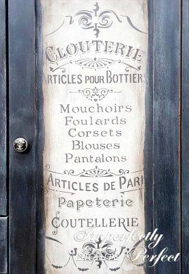 Perfect Stencilling - 'Articles de Paris' vintage stencil, grey on off-white backround, painted on vintage cupboard.