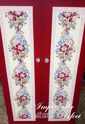 Perfect Stencilling - floral ornament, painted in multicolour on vertical wardrobe door.