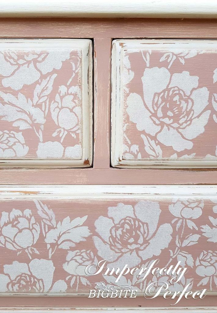 Perfect Stencilling - peonies pattern stencilled on a pink chest of drawers