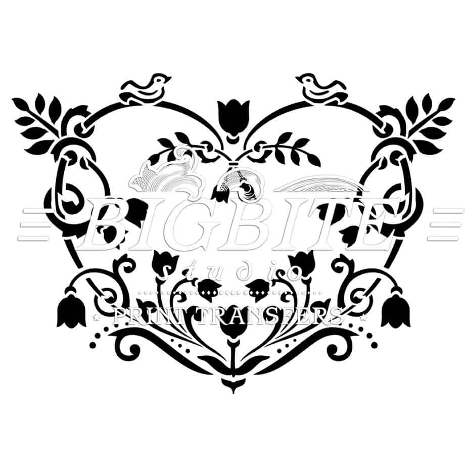 Decorative floral heart stencil