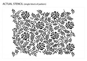 Twigs and Flowers Ornamental Pattern, Vintage Stencil - actual stencil image