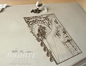 vintage art deco water decal absinthe robette advert preview at the top of a bureau