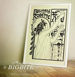 vintage art deco water decal absinthe robette advert preview in a frame