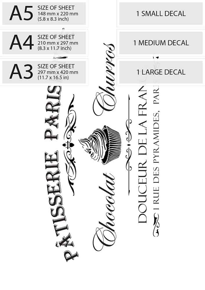 VIntage French Water Decal - Patisserie Parisienne - sizes