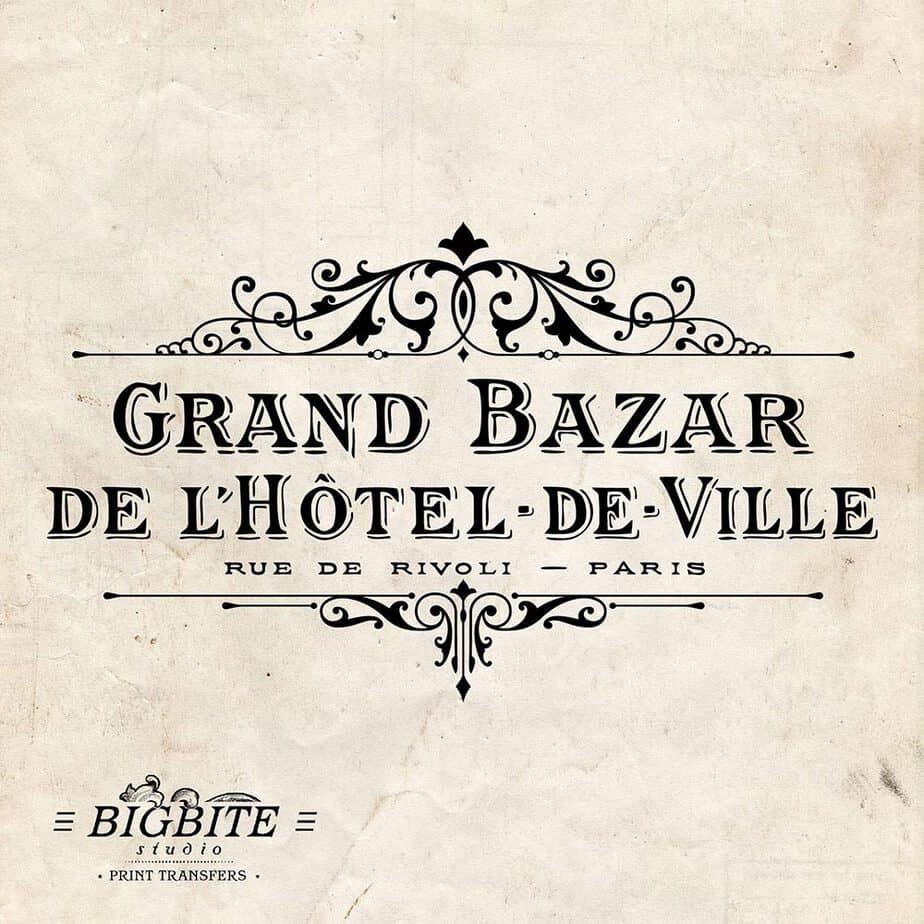 Water Decal Print Transfer - Vintage Hotel de Ville Grand Bazar Advert #062