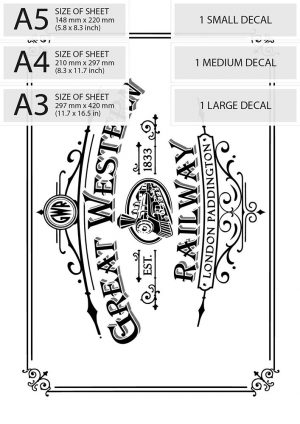 Vintage Print Transfer - Great Western Railway Advert sizes