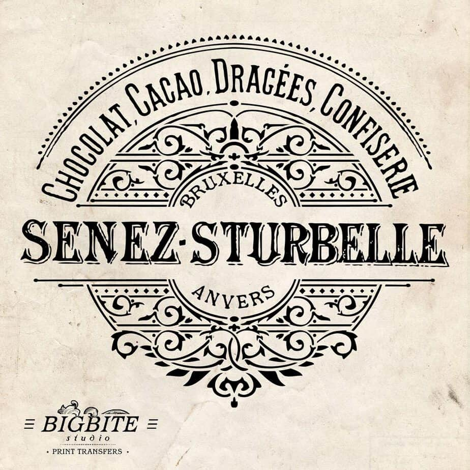 Water Decal Print Transfer - Vintage French Label: Senez-Strubelle  Chocolate #053